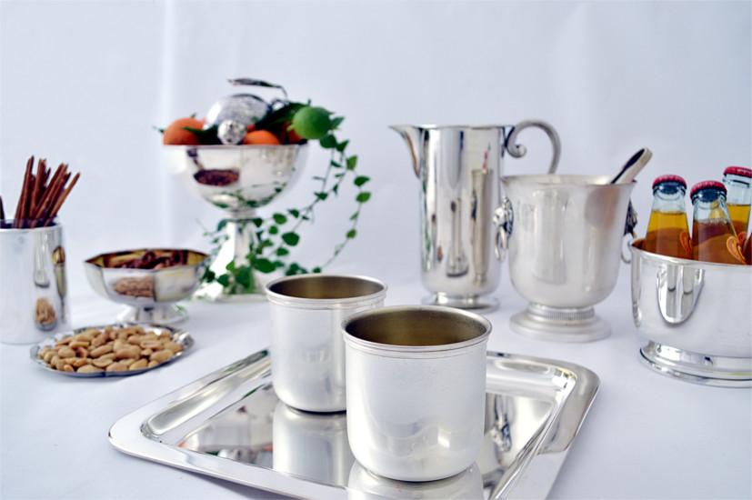 argenteria aperitivo bicchieri caraffa ciotole vassoio argento